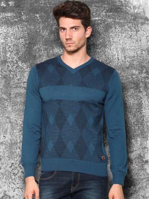 WROGN Self Design V-neck Casual Men's Blue Sweater