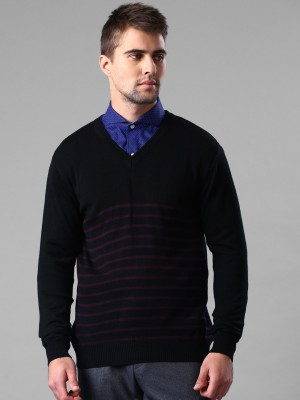 Invictus Self Design V-neck Casual Men,s Black Sweater