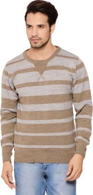 Northern Lights Striped Round Neck Men's Grey, Brown Sweater