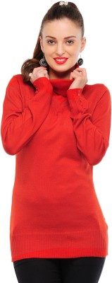 Yepme Solid Turtle Neck Casual Women's Red Sweater