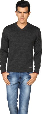 Provogue Solid V-neck Casual Men's Grey Sweater