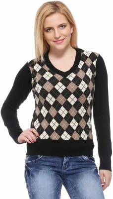 Fasnoya Argyle V-neck Casual Women's Black, Brown Sweater