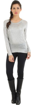 FashionHaven Solid Round Neck Casual Women's Silver Sweater