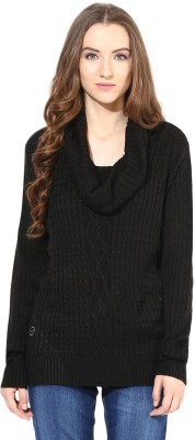 The Vanca Solid Round Neck Casual Women's Black Sweater