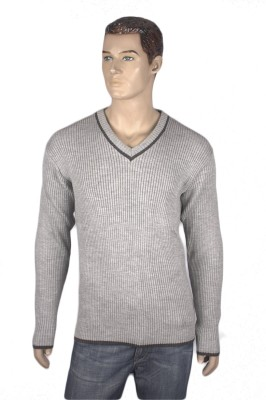 Nolex Striped V-neck Casual Men's Grey, Black Sweater