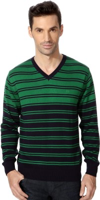 Allen Solly Striped V-neck Sports Men's Green Sweater