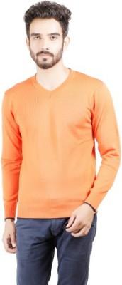 Numero Uno Solid V-neck Casual Men's Orange Sweater