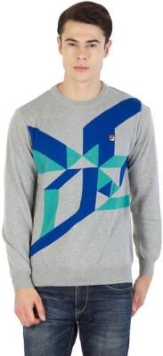 Fila Printed Round Neck Sports Men's Multicolor Sweater