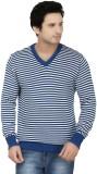 Fizzaro Striped V-neck Casual Men Blue, ...