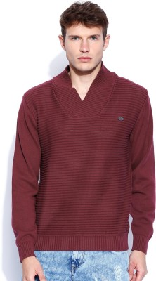 Roadster Self Design V-neck Casual Men's Maroon Sweater