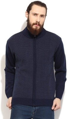 COBB Solid Round Neck Casual Men's Blue Sweater