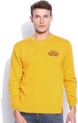 Harvard Solid Round Neck Men's Yellow Sweater
