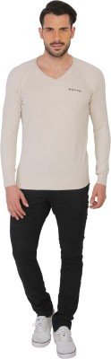 Being Human Clothing Solid V-neck Casual Men's Beige Sweater