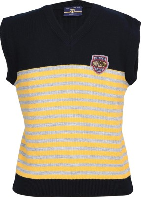 Duke Stardust Striped V-neck Casual Women's Yellow Sweater