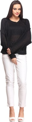 Nineteen Solid Round Neck Casual Women's Black Sweater
