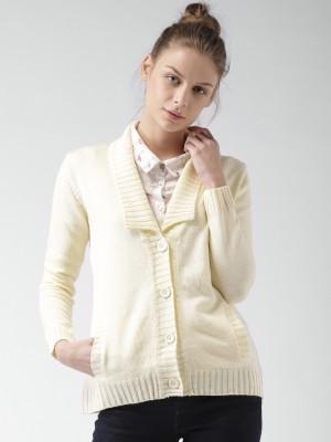 Mast & Harbour Self Design V-neck Casual Women,s White Sweater