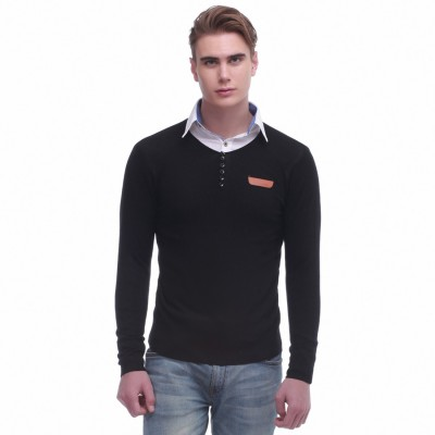 Jogur Self Design Round Neck Men's Black Sweater