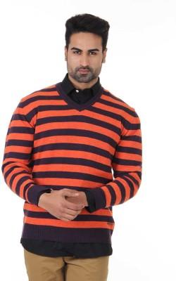 London Fog Striped V-neck Casual Men's Orange Sweater