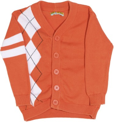 Gini & Jony Self Design Casual Baby Boys White, Black, Orange sweater