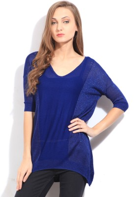Arrow Self Design V-neck Casual Women's Blue Sweater at flipkart
