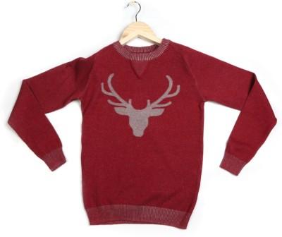 Allen Solly Solid Round Neck Boy's Maroon Sweater