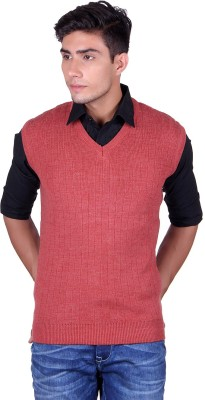eWools Solid V-neck Party Men's Pink Sweater