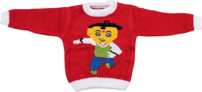 Fusion Fashion Solid Round Neck Casual Baby Boy's Red Sweater