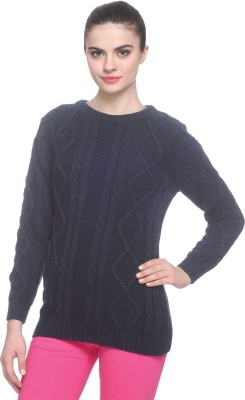 Miss Grace Self Design Round Neck Party Women's Blue Sweater