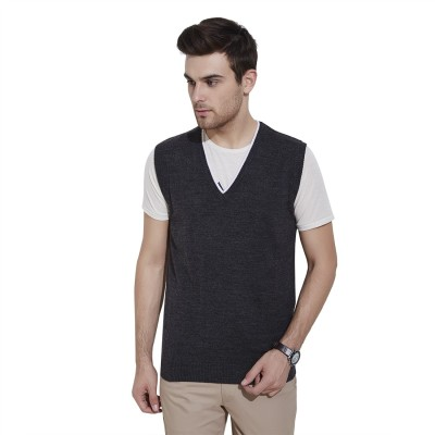 Urban Nomad By INMARK Solid V-neck Casual Men's Grey Sweater