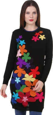 Spink Embroidered Round Neck Women's Multicolor Sweater