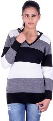eCools Striped V-neck Party Women's Black, Grey, White Sweater