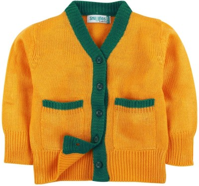 Snuggles Solid V-neck Casual Baby Boy's Yellow Sweater