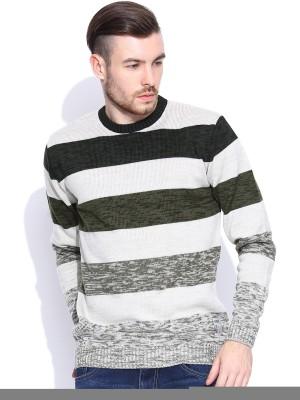 HRX by Hrithik Roshan Striped Round Neck Casual Men's Beige Sweater