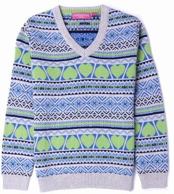 London Fog Striped V-neck Casual Girl's Green, Blue Sweater