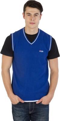 Fila Printed V-neck Sports Men's White, Blue Sweater