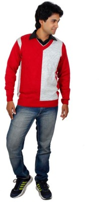Alpine Enterprises Solid V-neck Men's Red, Grey Sweater