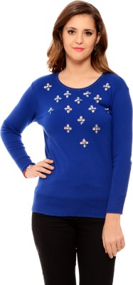 MSMB Solid Round Neck Casual Women's Blue Sweater