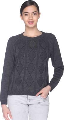 CLUB YORK Argyle Round Neck Casual Women's Grey Sweater
