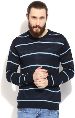 COBB Striped V-neck Casual Men's Blue Sweater