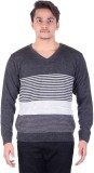 Numalo Striped V-neck Casual Men Grey Sw...