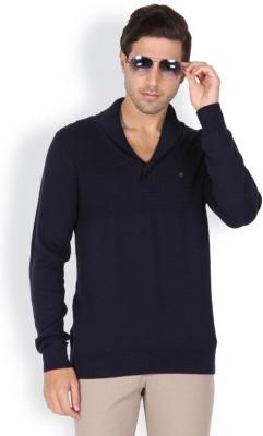 Blackberrys Solid V-neck Men's Dark Blue Sweater