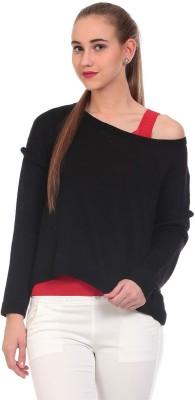 Saiints Solid Scoop Neck Casual Women's Black Sweater