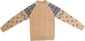Crazeis Printed Round Neck Casual Boys Beige Sweater