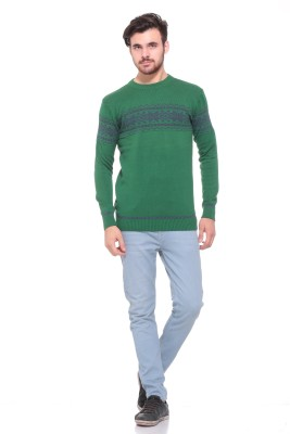Pro Riders Solid Round Neck Casual Men's Green Sweater