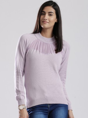 D Muse by DressBerry Solid Crew Neck Casual Women's Purple Sweater