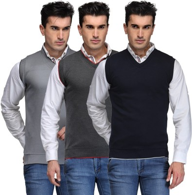 TSX Solid V-neck Casual, Party, Formal Men's Grey, Grey, Blue Sweater