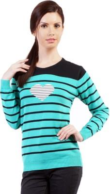 Pazaro Striped Round Neck Casual Women,s Green Sweater