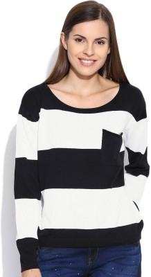 Silly People Striped Round Neck Casual Women's Black Sweater