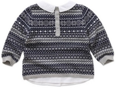 Dave & Bella Woven Round Neck Party Boys Dark Blue Sweater