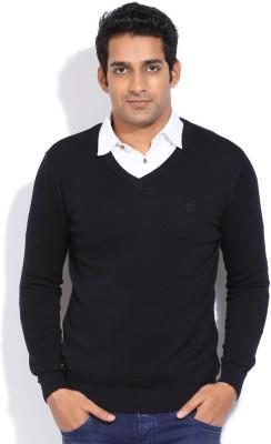 Van Heusen Solid V-neck Casual Men's Black Sweater